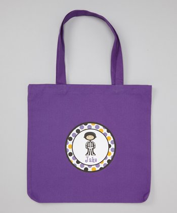 Purple Boy Skeleton Personalized Tote