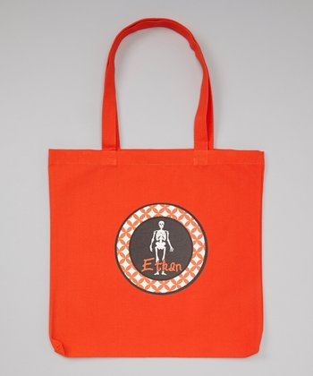 Orange Skelton Personalized Tote