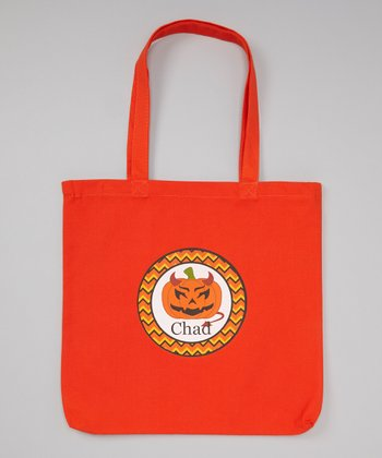 Orange Jack-O-Lantern Personalized Tote