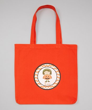 Orange Brown-Haired Girl & Pumpkin Personalized Tote