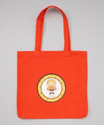 Orange Blonde-Haired Girl & Pumpkin Personalized Tote