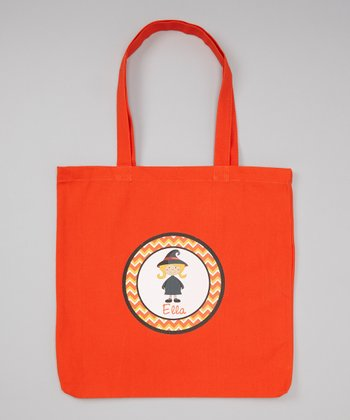 Orange Blonde-Haired Witch Personalized Tote