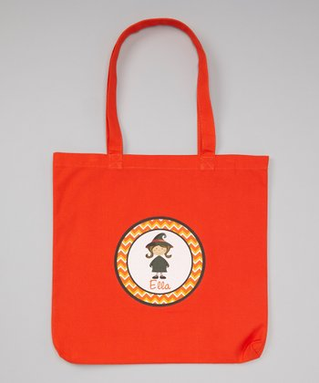 Orange Brown-Haired Witch Personalized Tote