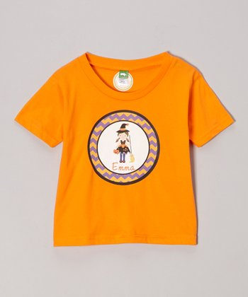 Tangerine Broom Witch Personalized Tee - Infant, Toddler & Girls