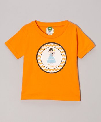 Orange Black-Haired Girl Personalized Tee - Infant, Toddler & Girls