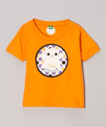 Tangerine Ghost Owl Personalized Tee - Infant, Toddler & Girls