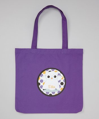 Purple Ghost Owl Personalized Tote