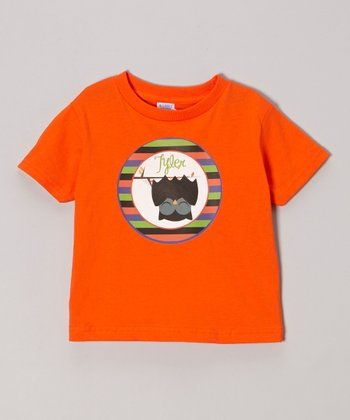 Dark Orange Bat Owl Personalized Tee - Infant, Toddler & Girls