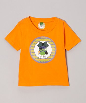 Tangerine Pirate Owl Personalized Tee - Infant, Toddler & Girls