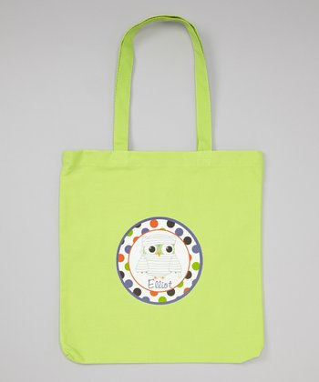 Lime Mummy Owl Personalized Tote