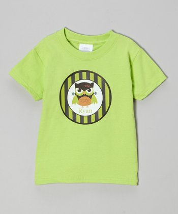 Lime Monster Owl Personalized Tee -Infant, Toddler & Girls