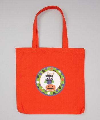 Orange Pumpkin Owl Personalized Tote