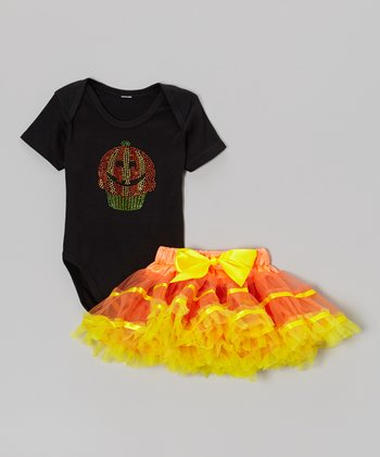 Black Pumpkin Cupcake Bodysuit & Orange Pettiskirt - Infant