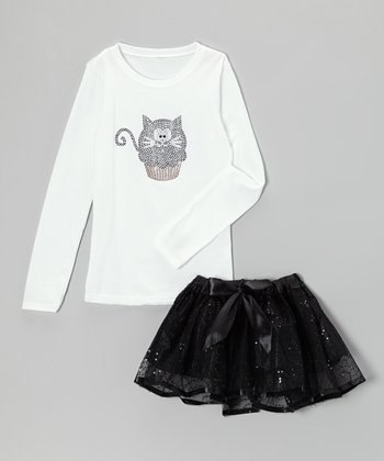 White Kitty Cupcake Tee & Black Tutu - Infant, Toddler & Girls