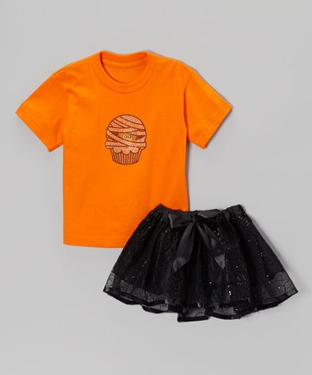 Orange Mummy Cupcake Tee & Black Tutu - Toddler & Girls
