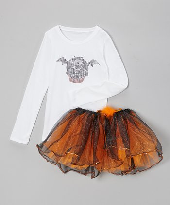 White Bat Cupcake Tee & Orange Tutu - Infant, Toddler & Girls