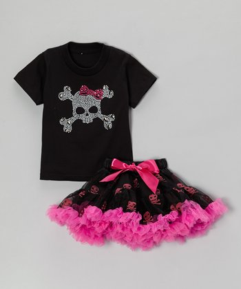Black Skull Tee & Pettiskirt - Toddler & Girls