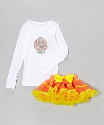 White Pumpkin Tee & Orange Pettiskirt - Infant, Toddler & Girls
