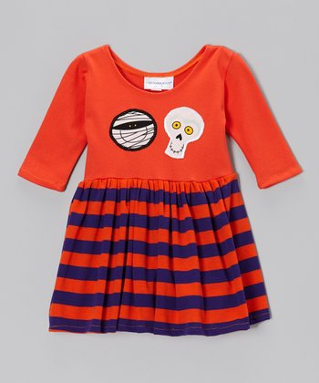 Orange & Purple Stripe Monster Dress - Infant, Toddler & Girls
