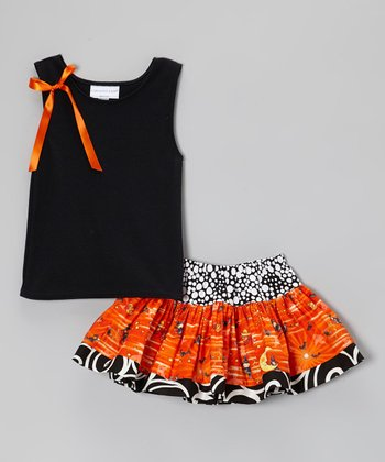Black & Orange Ribbon Tank & Twirl Skirt - Toddler & Girls