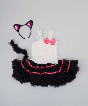 Black & White Cat Tutu Dress-Up Set - Infant, Toddler & Girls