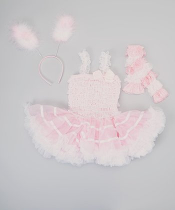 Light Pink & White Bunny Tutu Dress-Up Set - Infant, Toddler & Girls