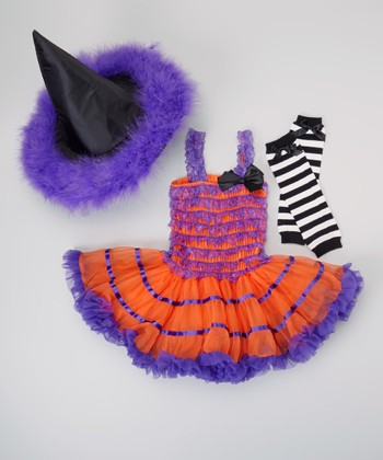 Purple & Orange Witch Tutu Dress-Up Set - Infant, Toddler & Girls