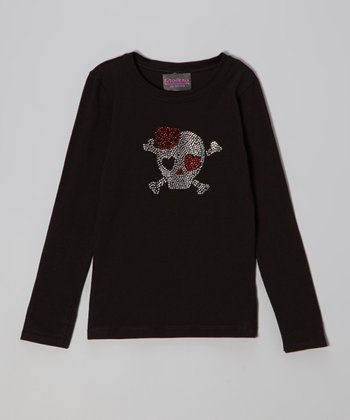 Black Rhinestone Skull Tee - Infant & Boys