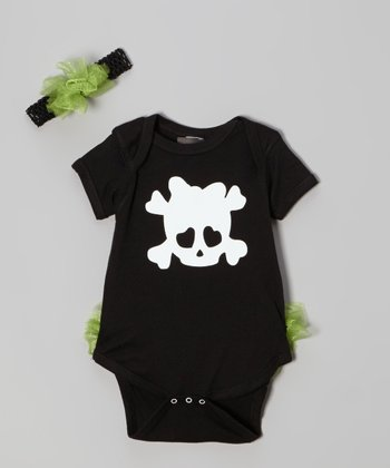 Black & Green Skull Bodysuit & Headband - Infant