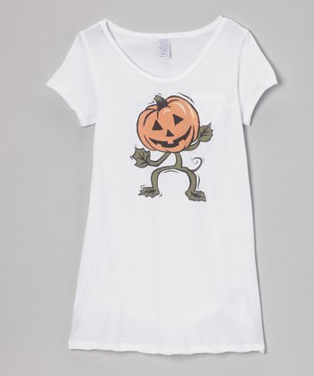 White Dancing Pumpkin Pocket Tunic - Toddler & Girls