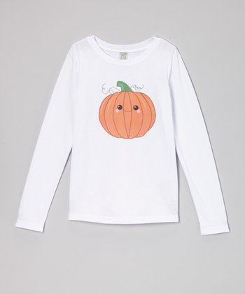 White Smiley Pumpkin Tee - Girls