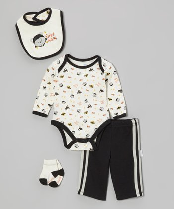 Black 'First Bite' Pants Set - Infant
