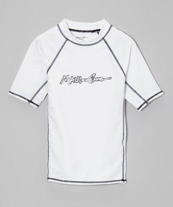 Maui and Sons White Classic Rashguard - Boys