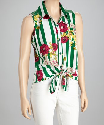 Green Stripe Floral Tie-Front Top