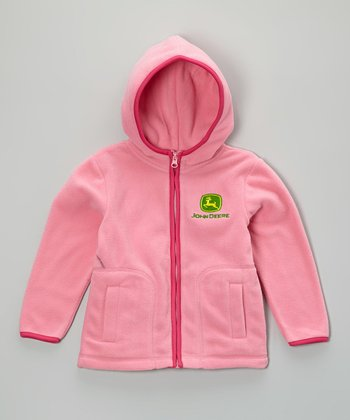 Pink Logo Polar Fleece Zip-Up Hoodie - Girls