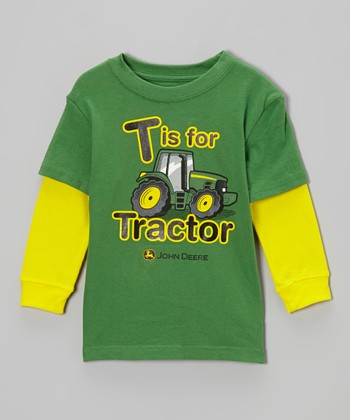 Green 'T Is For Tractor' Layered Tee & Tractor Toy - Toddler