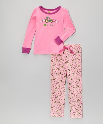 Pink Tractor Pajama Set - Toddler & Girls