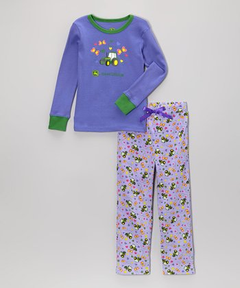 Purple Butterfly Pajama Set - Toddler & Girls