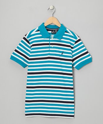 Gulf Blue Stripe Polo - Boys