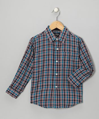 Teal Woven Button-Up - Boys
