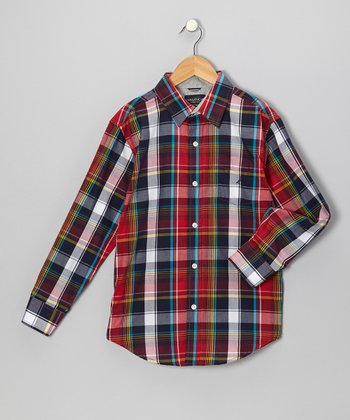 Cherry Plaid Woven Button-Up - Boys