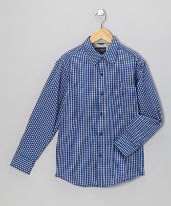 Blue Jean & Gray Woven Button-Up - Boys