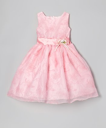 Pink Garden Embroidered Dress - Infant, Toddler & Girls