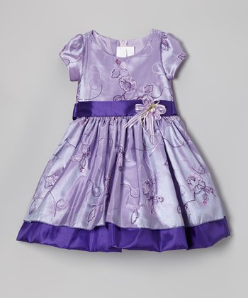 Lavender Flower Embroidered Dress - Infant, Toddler & Girls