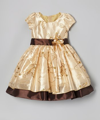 Cream Flower Embroidered Dress - Infant, Toddler & Girls