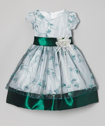 Emerald Flower Embroidered Dress - Infant, Toddler & Girls