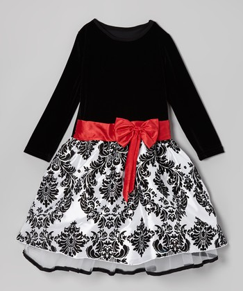 Black & Red Damask Dress - Infant, Toddler & Girls