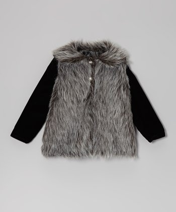 Black & Slate Faux Fur Jacket - Infant, Toddler & Girls