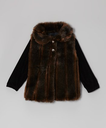 Wood & Black Faux Fur Jacket - Infant, Toddler & Girls