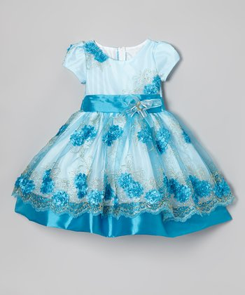 Light & Medium Blue Embroidered Dress - Infant, Toddler & Girls